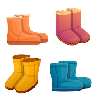 Ugg boots set, cartoon style