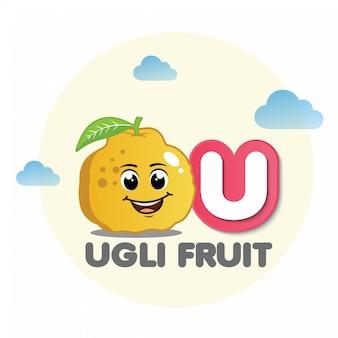 Ugli fruit mascot with letter u