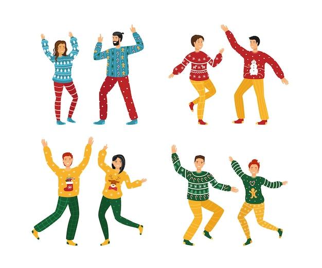 못생긴 크리스마스 스웨터 파티. 젊은 남녀 가족 댄스