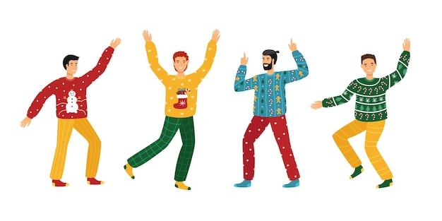 못생긴 크리스마스 스웨터 파티. 크리스마스 스웨터를 입은 젊은이들이 춤을 추고 있다
