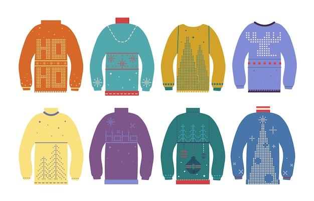 못생긴 크리스마스 스웨터. 다양하고 귀여운 북유럽 겨울 장식품이있는 전통적인 크리스마스 점퍼. 휴가 화려한 옷 벡터 세트