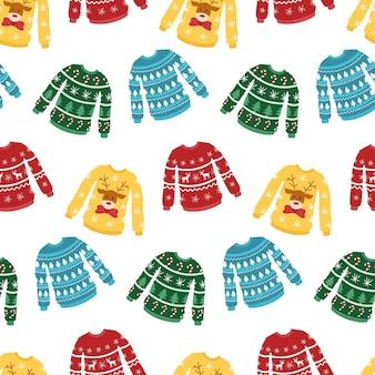 Уродливые рождественские свитера бесшовные модели