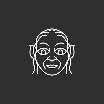 Уродливое лицо значок. наброски векторные иллюстрации