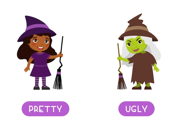 Ugly and pretty antonyms word card opposites concept flashcard for english language learning