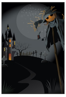 Ugly scarecrow on stick at night illustration