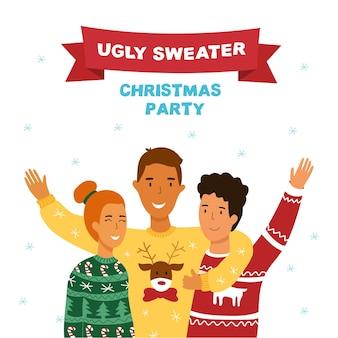 Уродливый свитер рождественская вечеринка баннер. милый мультяшный стиль