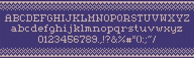Ugly sweater font. knitted letters, christmas holiday clothes sweaters and xmas knits fabric  illustration set