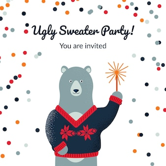 Ugly sweater party design with a cute polar bear.