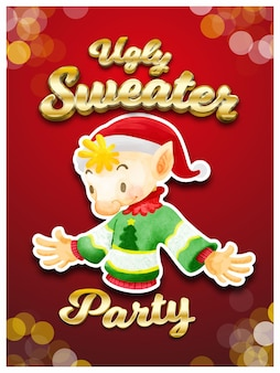 Ugly sweater party invitation card christmas party vector illustration