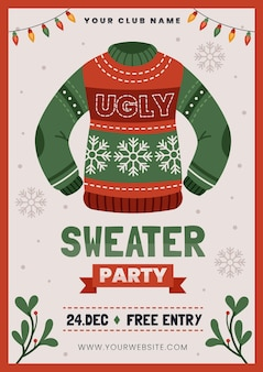 醜いセーターパーティーの招待状テンプレート