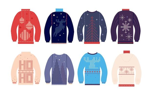 醜いセーター。さまざまなかわいいプリントや装飾品、面白い休日のウールの服で伝統的な醜いクリスマスセーター