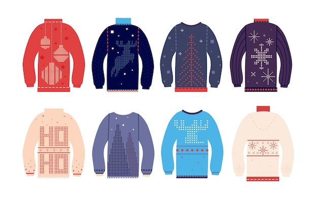 Ugly sweater. traditional ugly christmas sweaters with different cute prints and ornaments, funny holiday wool clothes