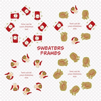 그레 팅 텍스트에 어울리는 추한 스웨터 프레임
