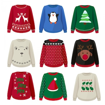 Ugly sweaters. funny christmas clothes jumper with decoration cute snowflakes  sweaters collection