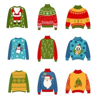 크리스마스 파티를위한 추한 스웨터 세트
