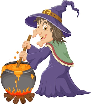 The ugly witch is stirring the potion