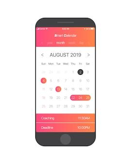 Календарь приложения ui концепция август 2019 страница векторный шаблон