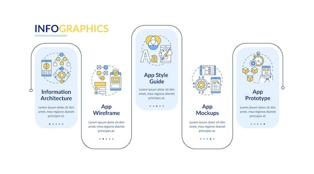 Инфографический шаблон шагов дизайна пользовательского интерфейса и пользовательского интерфейса.