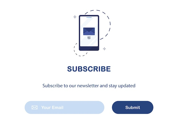 Ui banner template of email marketing for subscription to newsletter isolated on white background