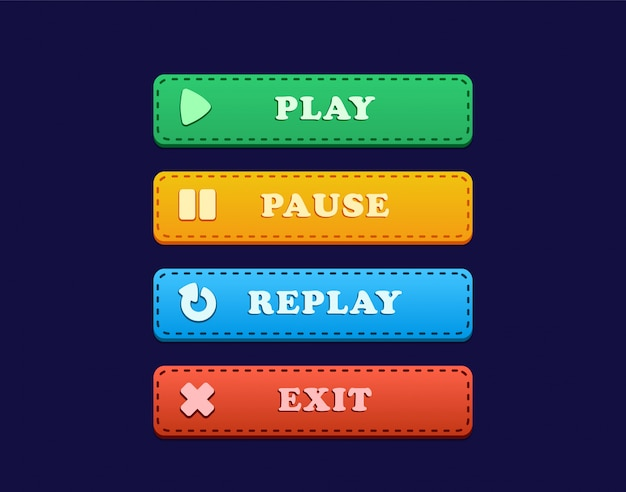 Ui button for game with play, pause, replay and exit, ui button for game that includes play, pause, replay and exit with drop shadow
