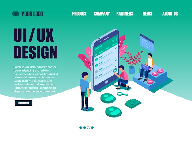 Ui design concept with character for designer. ui design landing page