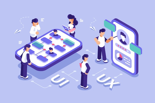 Ui design concept with character. software group, kit for phone seo programming. ux flat isometric vector . mobile app user interface development. teamwork. can use for web banner, infographics.