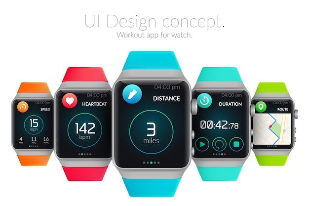 Concetto di design dell'interfaccia utente con smartwatch colorati ed elementi web per l'illustrazione dell'applicazione di allenamento
