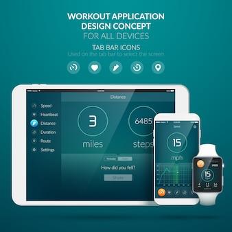 Concetto di design dell'interfaccia utente con elementi web dell'applicazione di allenamento per l'illustrazione di diversi dispositivi