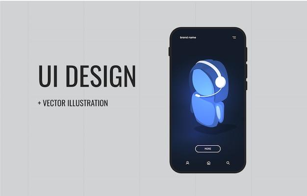 Дизайн пользовательского интерфейса. обслуживание клиентов онлайн.