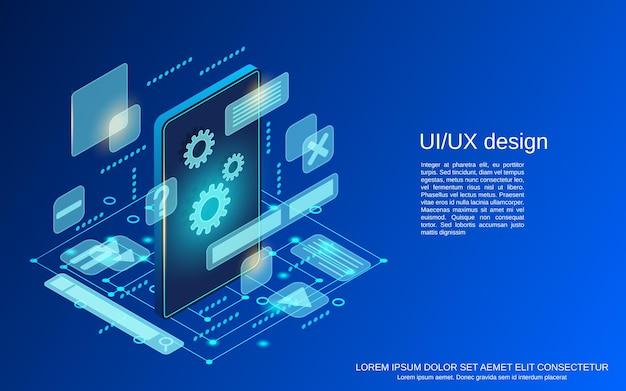 Uiデザインフラットアイソメトリックベクトルの概念図