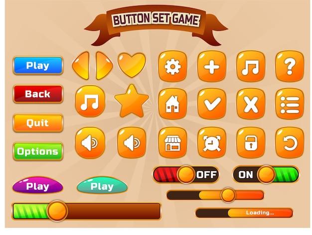 Uiデザインゲームボタン表示テンプレートデザイン