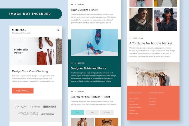 Дизайн пользовательского интерфейса minimal fashion responsive mobile