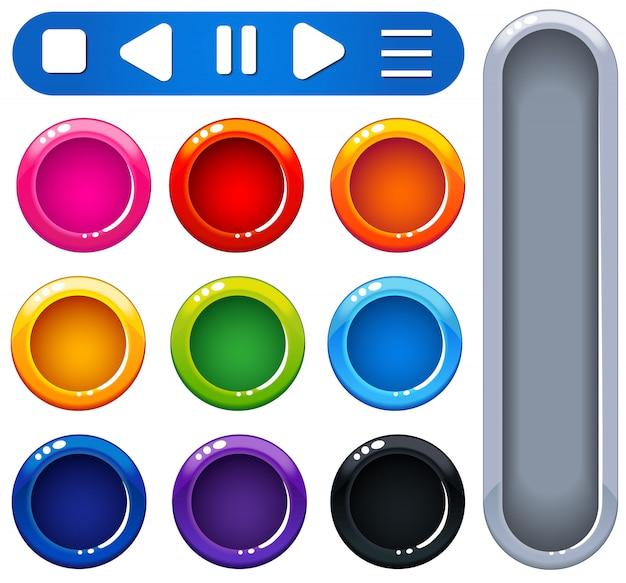 Ui design блестящие красочные кнопки