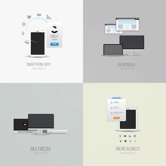 Элементы пользовательского интерфейса и значки для приложений для смартфонов, адаптивных приложений, мультимедиа и онлайн-бизнеса