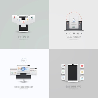 Ui elements and icons for smartphone apps, development, search engine optimatization and social network