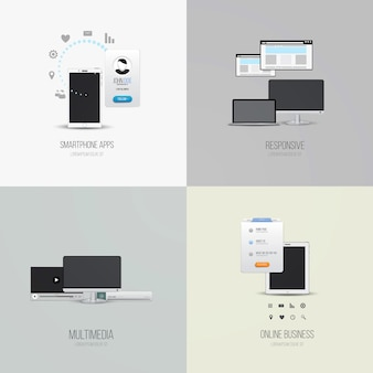Ui elements and icons for smartphone apps, responsive, multimedia and online business