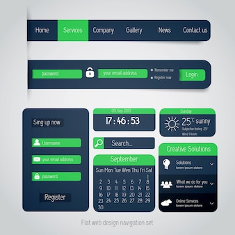 Ui elements for web and mobile. flat design.