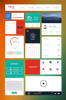Ui elements for web and mobile.icons and buttons.flat design.