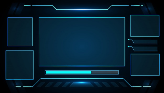 Ui futuristic interface hud control panel technology design for e-sports game.