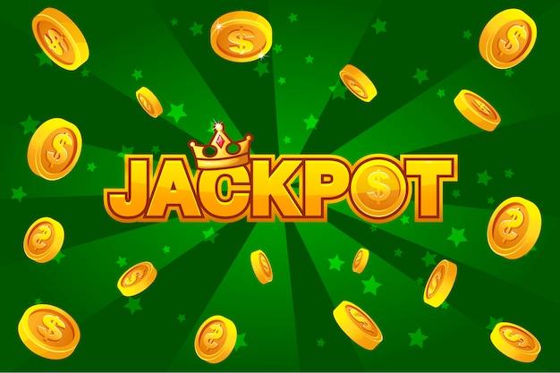 Джек-пот и золотые монеты на зеленом фоне, для элемента ui game