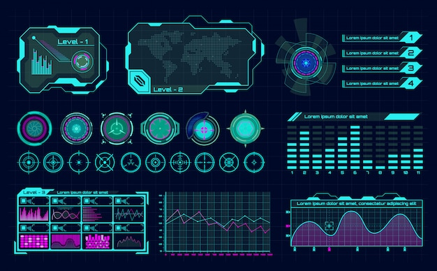未来的なホログラムui。インフォグラフィックグラフインターフェイス、仮想hudフレーム、デジタルバーレギュレータ、科学ホログラムボタンアイコン。グラフとパネルを備えた将来のダッシュボード、ハイテクサイバーコンセプト