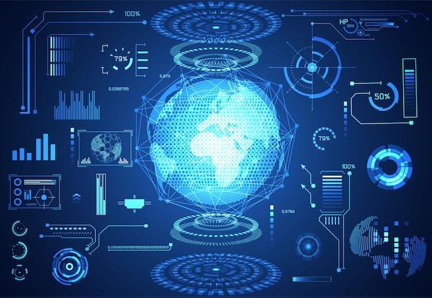 抽象的な技術ui未来的な概念のhudの世界のインターフェイスのホログラム
