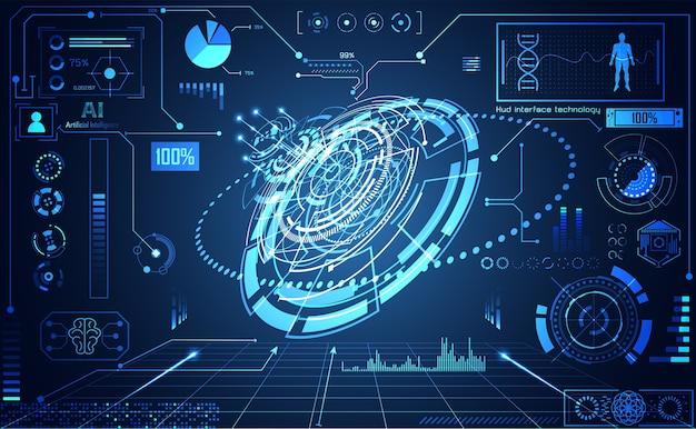 Абстрактная технология ui футуристическая голограмма интерфейса hud