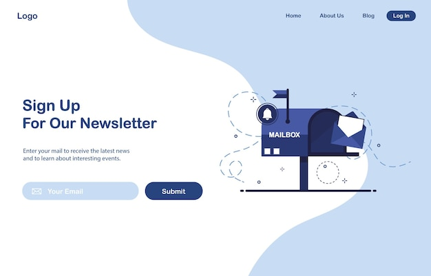 Ui landing page design of email marketing for subscription to newsletter