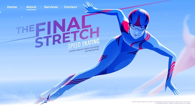 女性スケートアスリートのスピードスケートをテーマにしたuiまたはランディングページは、カーブを抜けて最終段階に進んでいます。