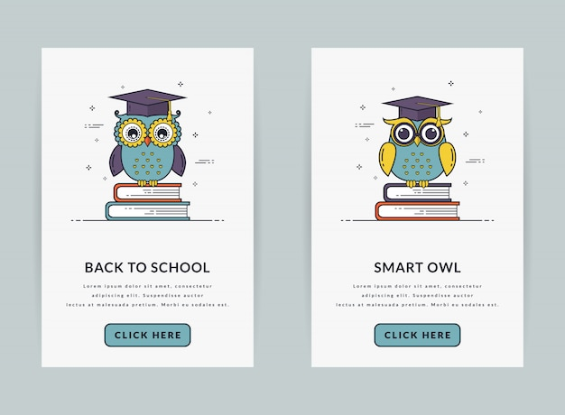 Ui template or web banners for education theme.