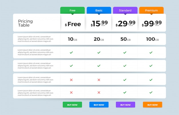 Ui user interface price list