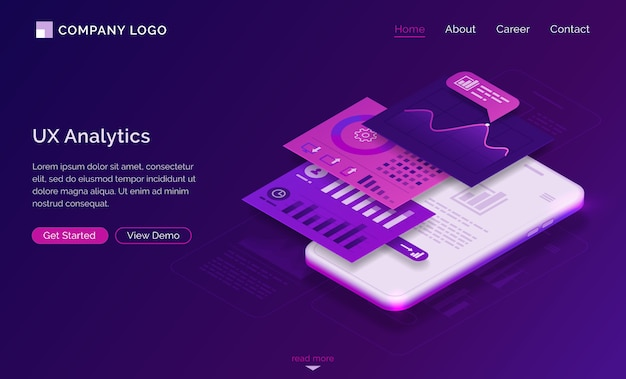 Ui ux analytics dashboard isometric landing page