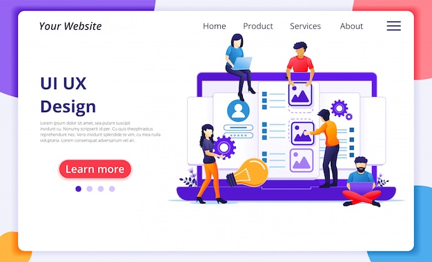 Ui ux  concept, people creating an application content and text place. website landing page template