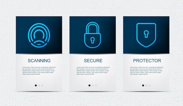 インタフェースui、ux、モバイルアプリケーションとウェブサイトのセキュリティテンプレート、ファイルの概念を保護するde